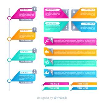 Плоские красочные градиентные элементы инфографика