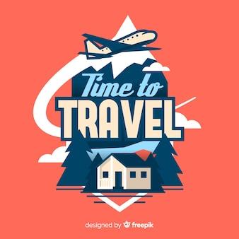 Плоский винтажный логотип путешествия
