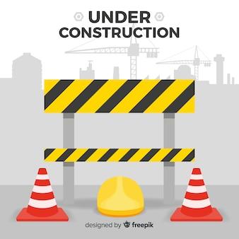 Плоские предупреждение строительство знак фон