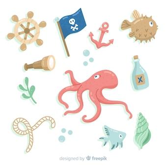 手描きの海洋生物要素パック