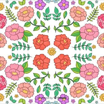 カラフルな花柄の刺繍の背景