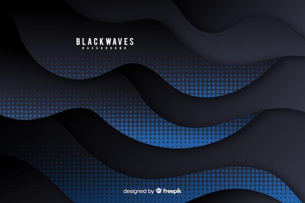ハーフトーン効果を持つ暗い波背景