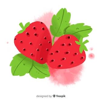 水彩イチゴ
