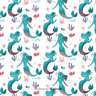 水彩人魚のパターン
