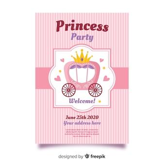 ピンクのプリンセスパーティーの招待状のテンプレート