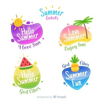平らな夏ラベルのコレクション