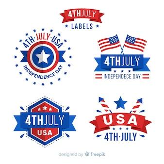 Коллекция значков четвертого июля