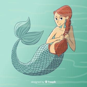 手描きの人魚の背景