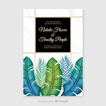 Шаблон приглашения акварель тропическая свадьба