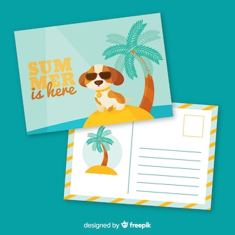Плоский шаблон открытки летних каникул