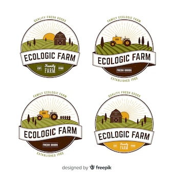 Плоская коллекция логотипа фермы