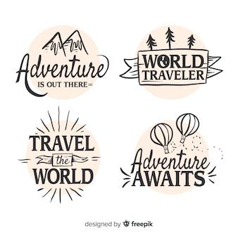Ручной обращается коллекция логотипов путешествия