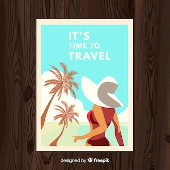 平らなビンテージ旅行ポスター