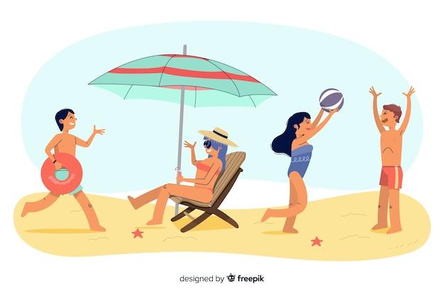ビーチで夏を楽しむ人々