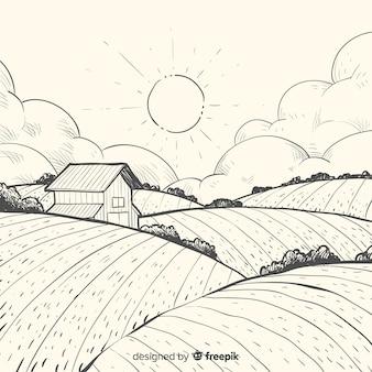 手描きの農場風景