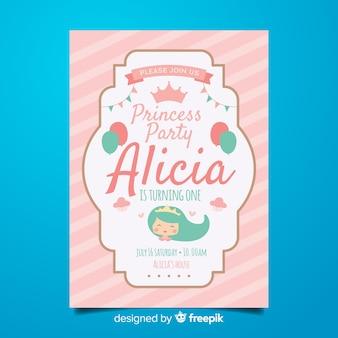 Плоский шаблон приглашения на вечеринку принцессы