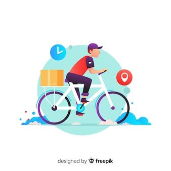 Концепция доставки велосипедов с пакетами