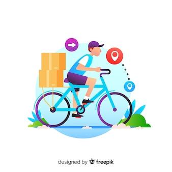 パッケージで自転車配達のコンセプト
