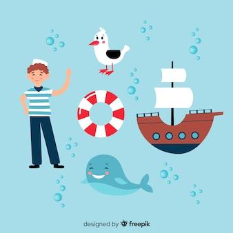 Коллекция рисованной морских персонажей