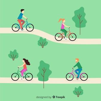 Люди на велосипеде в парке