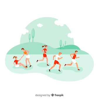マラソンレースをしている人