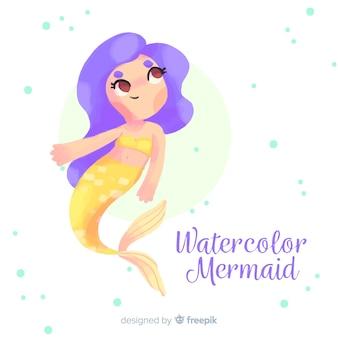 水彩人魚の背景