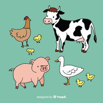 Коллекция рисованной сельскохозяйственных животных