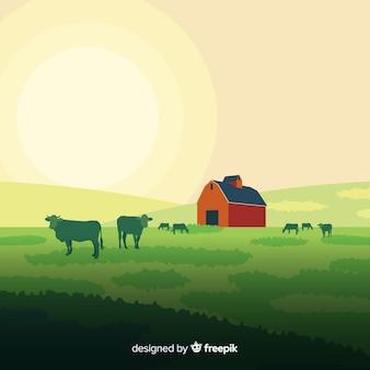 平らな農場の風景