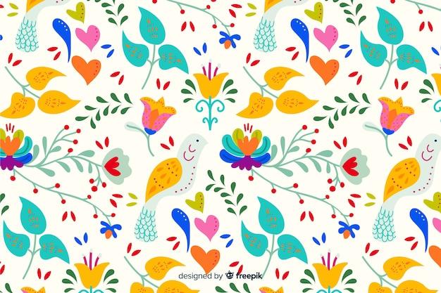 Красочный цветочный фон вышивки