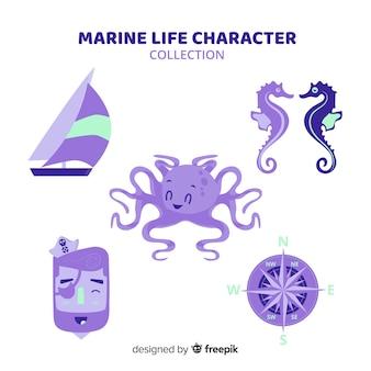 手描きのマリンキャラクターコレクション