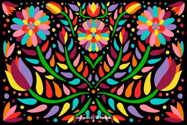 刺繍メキシコ花の背景