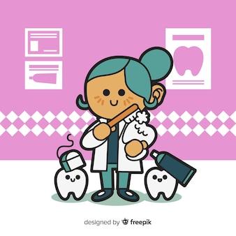 フラットなデザインの女性歯科医キャラクター