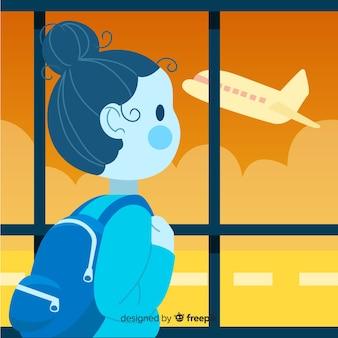 Девушка путешествия фон