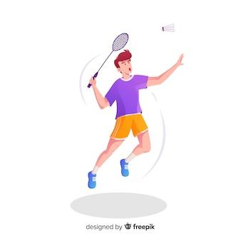 ラケットと羽のバドミントン選手