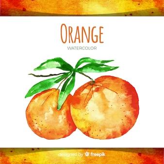 水彩の手描きオレンジ色の背景