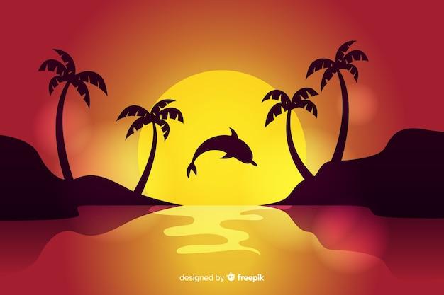ビーチの背景の夕日