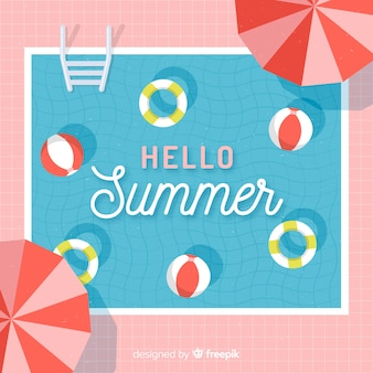 Плоский привет летний фон у бассейна