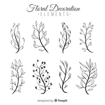 Рука нарисовать цветочные элементы декора
