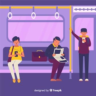 Люди, путешествующие в метро