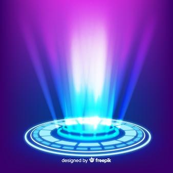 リアルなブルーホログラムポータルの背景