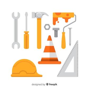 Коллекция плоских строительных инструментов