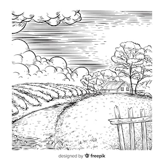 手描きの農場風景の背景