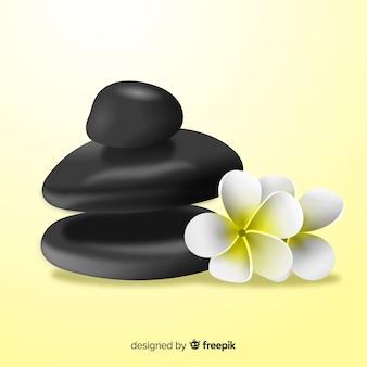 花の背景を持つ現実的なスパ石
