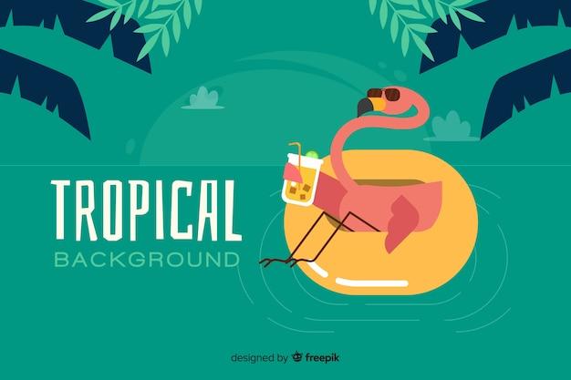 Плоский тропический фон с фламинго