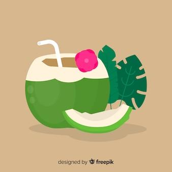 平らなシンプルなグリーンココナッツの背景