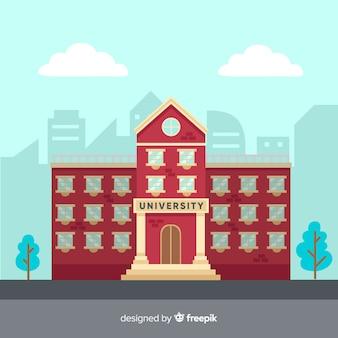 平らな大学の建物の背景