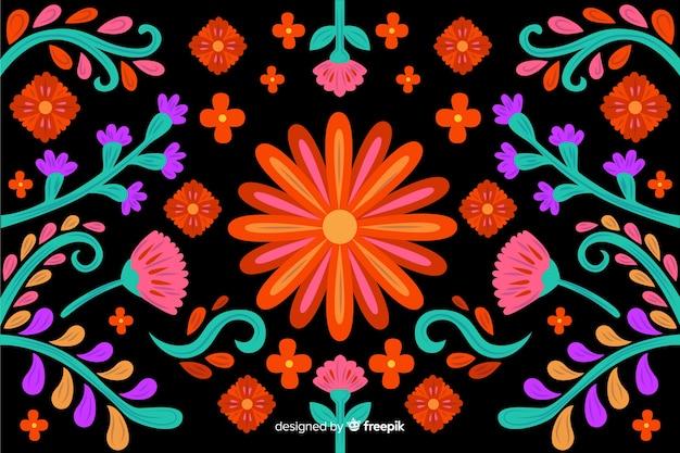 Вышивка цветочным фоном
