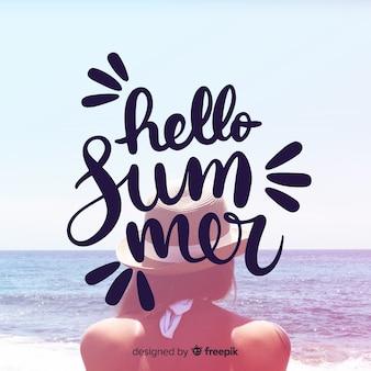 夏のレタリングの背景画像