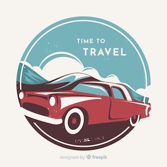 Плоский винтажный фон путешествия