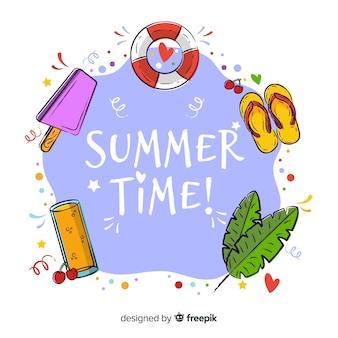 手描きの夏の時間の背景